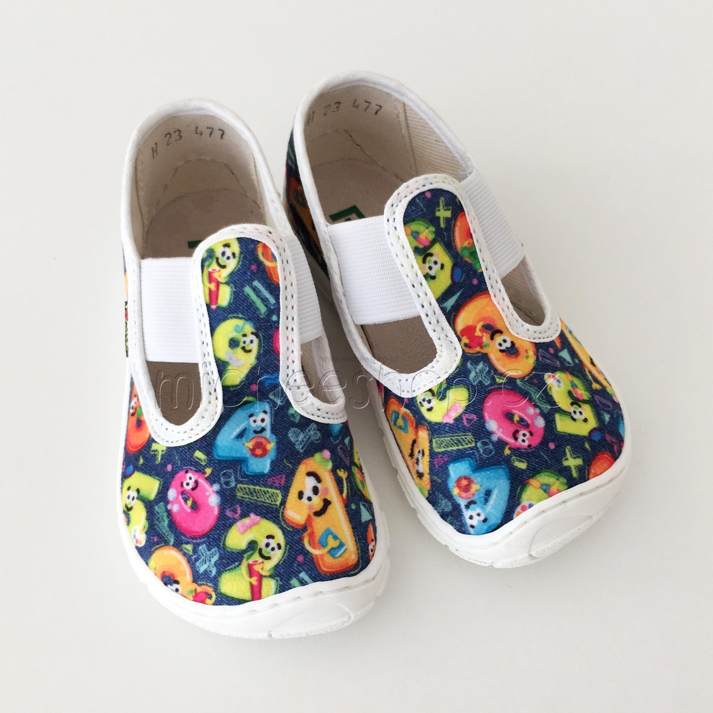 107ae6a89 Textilní obuv | Fare Bare dětské papuče na gumičku modrá ...